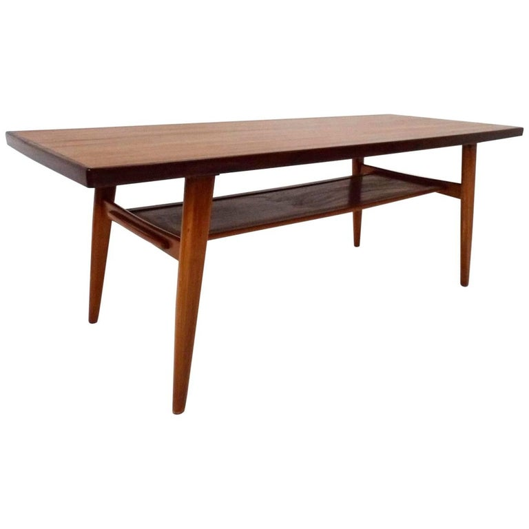 Norwegian Teak Coffee Table With Shelf Midcentury 1960s At 1stdibs