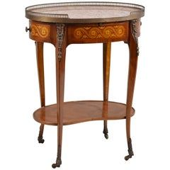 Marble-Top Oval Side Table
