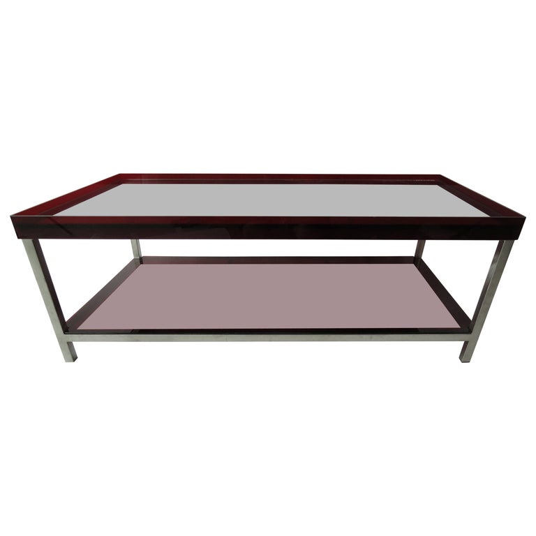 Modern Red Acrylic And Steel Coffee Table For Sale At 1stdibs