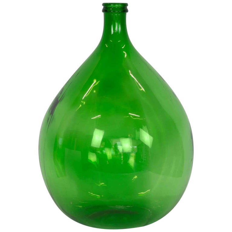 Extra Large Hand Blown Glass Balloon Demijohn Rich Green At 1stdibs