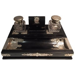 Crystal, Sterling Silver & Ebonized Wood Deskset by George Bedingham, circa 1870