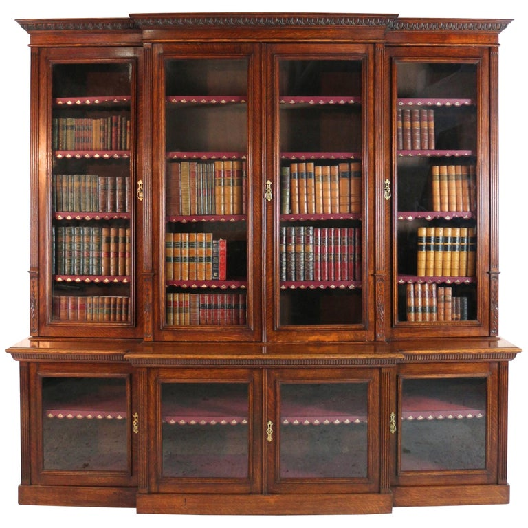 Large Victorian Oak Breakfront Bookcase, Attributed to Maple & Co