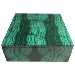 Large Square Bookmatched Malachite Box with Removable Lid Made in India
