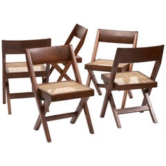 Set of Six Pierre Jeanneret Library Chairs in Teak from Chandigarh, 1950s