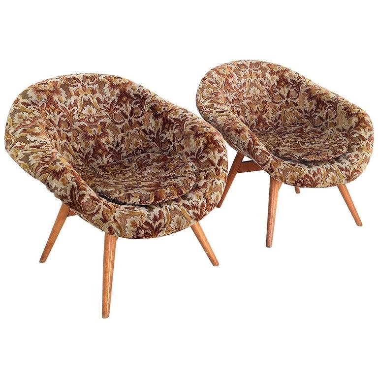 Baroque Style Bucket Chairs by Miroslav Navrátil for Vertex, 1950s.