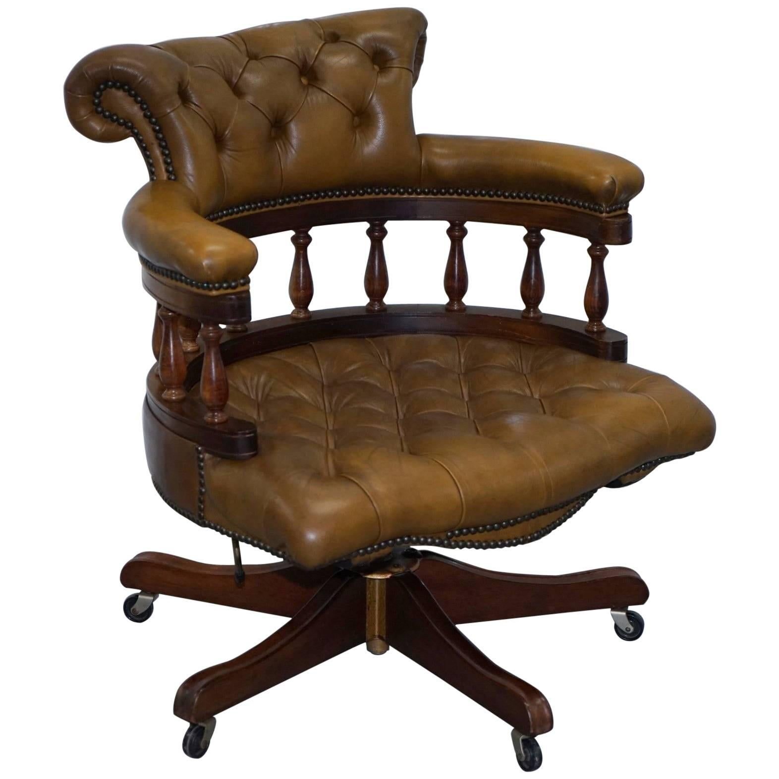 Bon Rare 40 Year Old Chesterfield Brown Leather Captains Chair Solid Oak Frame  For Sale