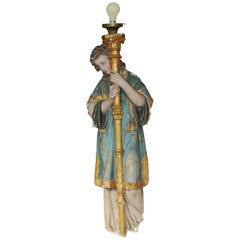 Sconce with Painted Plaster Archangel Design