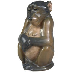 Royal Copenhagen Porcelain Figurine of a Sitting Monkey by Niels Nielsen, 1913