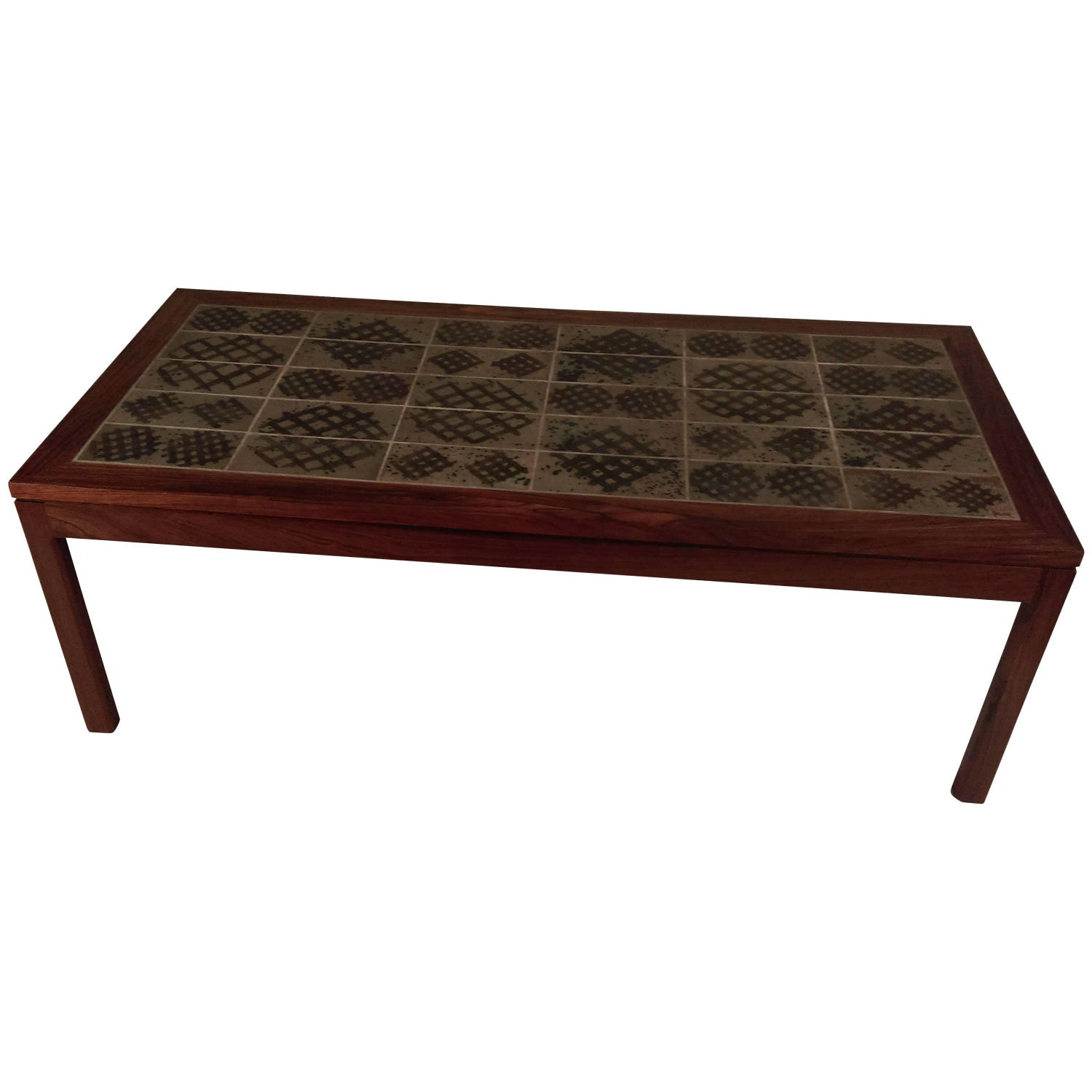 1960s Belgium Tile Top Coffee Table Signed Adri at 1stdibs