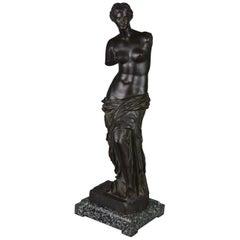 Bronze Sculpture of Venus de Milo, Black Patina, Green Flamed Marble Stand