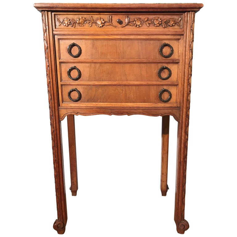 1900s French Hand-Carved Nutwood Side Table / Cabinet with Marble Top & Interior
