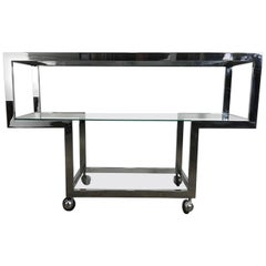 Modernist Chrome and Glass Serving Cart, Bar /Console, Milo Baughman