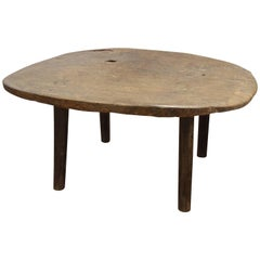 Andrianna Shamaris Single Teak Wood Slab Wabi Sabi Coffee Table
