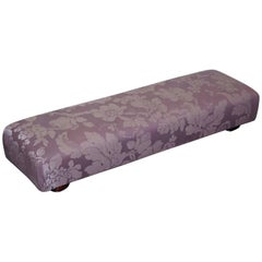 George Smith Fender Footstool Ottoman Silk and Silk Velvet Floral Fabric