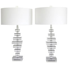 Pair of Sculptural Midcentury Stacked Lucite Table Lamps