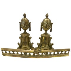 Pair of French Cast Brass Andirons and Fender