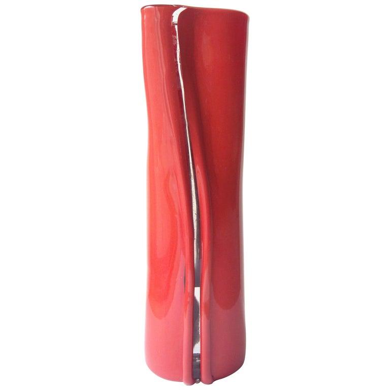 """Toni Zuccheri Murano Glass Vase for Venini,"""" Scolpito"""", Signed For Sale"""