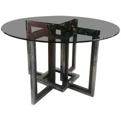 Romeo Rega, Chrome, Brass and Tinted Glass Dining Room Table, Italy, 1970