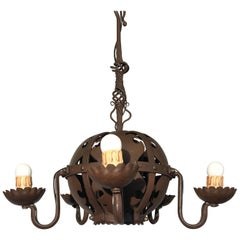 Unique & Hand-Forged Arts & Crafts Wrought Iron Pendant Light, circa 1910