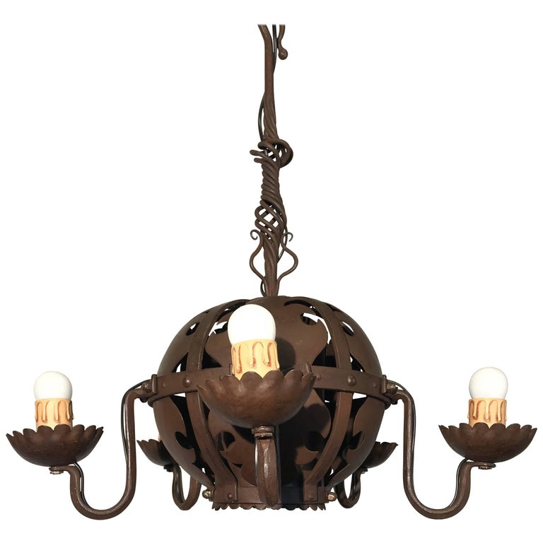 Unique & Hand-Forged Arts & Crafts Wrought Iron Pendant Light, circa 1910 For Sale