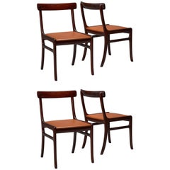 Set of Four Mahogany Rungstedlund Dining Chairs with Leather Seats, Ole Wanscher