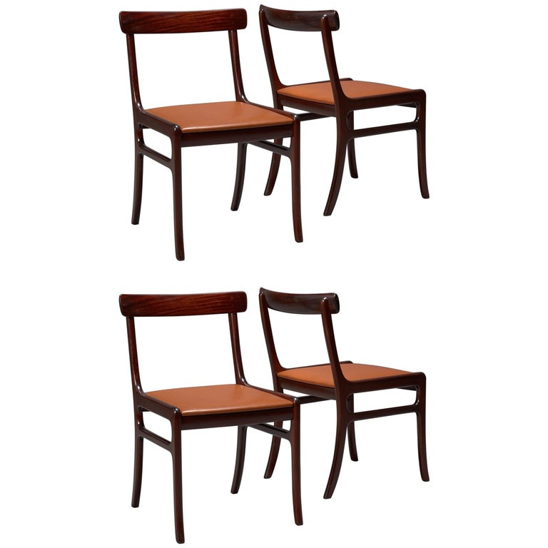 Set of Four Ole Wanscher Mahogany Rungstedlund Dining Chairs with Leather Seats