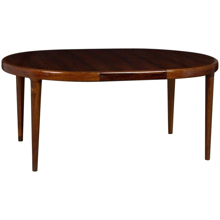 Danish Rosewood Extension Dining Table with Two Leaves