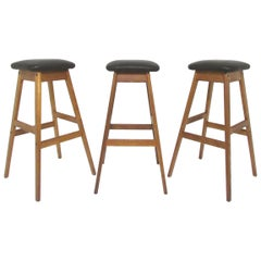 Set of Three Danish Teak and Leather Bar Stools by Vamdrup Stolefabrik