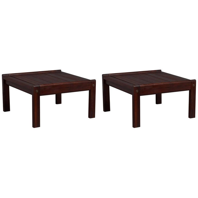 Pair of Solid Brazilian Rosewood End Tables Attributed to Sergio Rodrigues