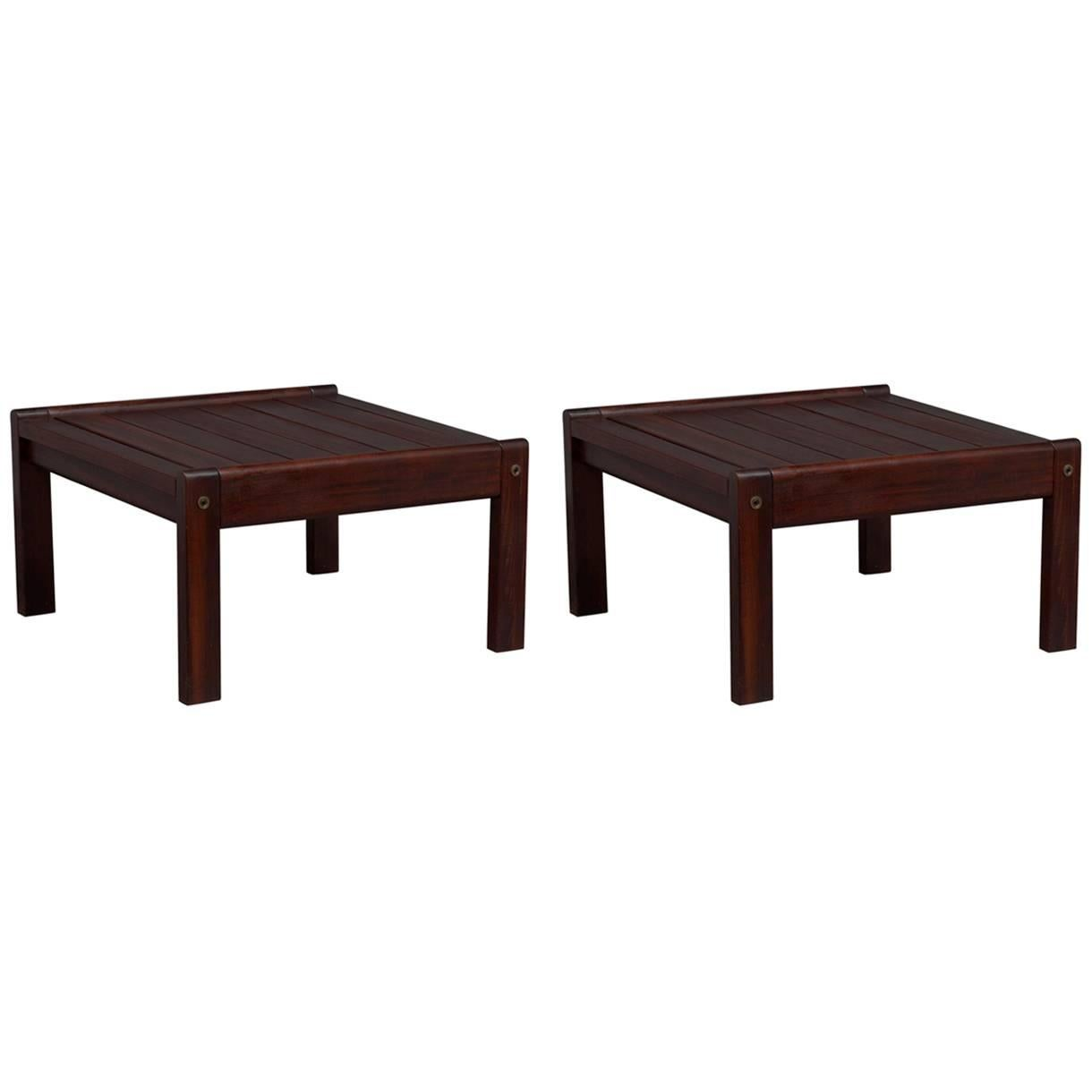 Pair Of Solid Brazilian Rosewood End Tables Attributed To Sergio Rodrigues 1