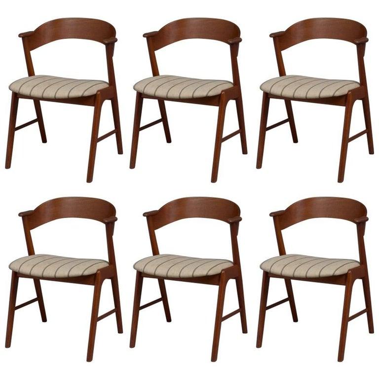 Set of Six Model 32 Teak Dining Chairs by Kai Kristiansen