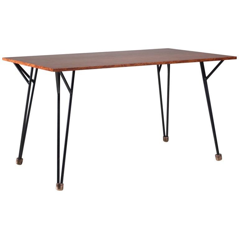 Alfred Hendrickx Rare Desk or Dining Table in Root Wood Veneer, Belgium, 1950s