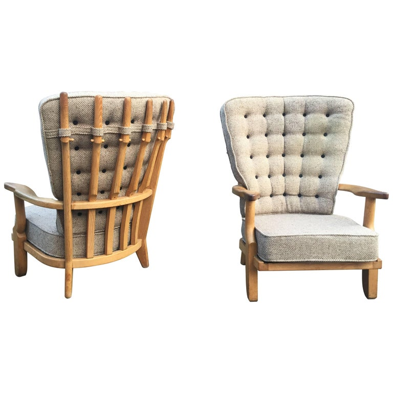 Guillerme et Chambron, Pair of Grand Repos Oak Armchairs Edition Votre Maison