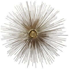 Midcentury Brass and Copper Starburst Sculpture Attributed to C. Jere