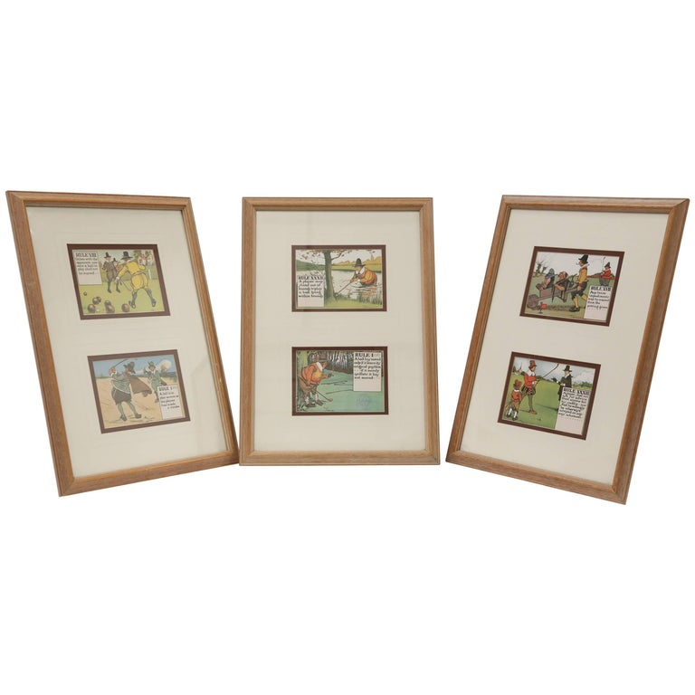 Framed English Golf Prints by Charles Crombie For Sale at 1stdibs