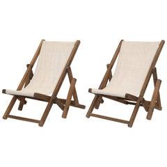 Pair of Children's Beach Chairs in European Linen