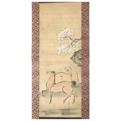 Japan Antique Two Horses Hand-Painted Silk Scroll & Spring Sakura Cherry Tree