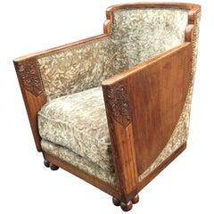 Original Art Deco Armchair in Mahogany, circa 1925