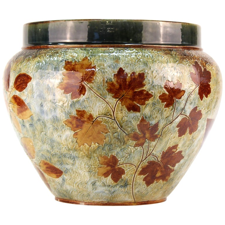 Doulton English Stoneware Jardiniere with Leaf Motif For Sale