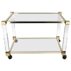 Pierre Vandel Bar Cart in Lucite, Chrome and Glass
