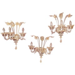 Three Wall Lamps Has Three Arms of Light, Crystal of Murano, Straws of Gold