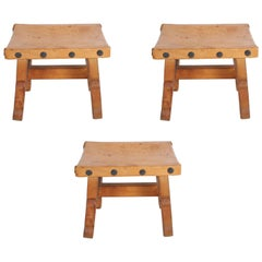Vintage Mexican Leather Stools with Studs