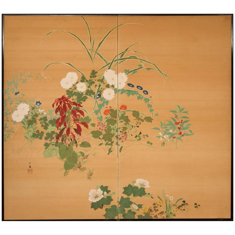 Japanese Two-Panel Screen, Summer Flowers on Silk For Sale