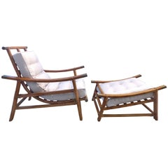 Mid-Century Modern Rattan Lounge Chair and Ottoman by Vogue Rattan