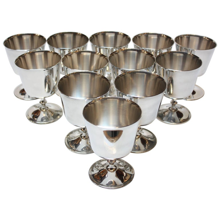 Set of 12 Italian Silver Plated Goblets