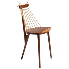 Tropical Brazilian Hardwood and Natural Ramie Cord Three-Legged Chair