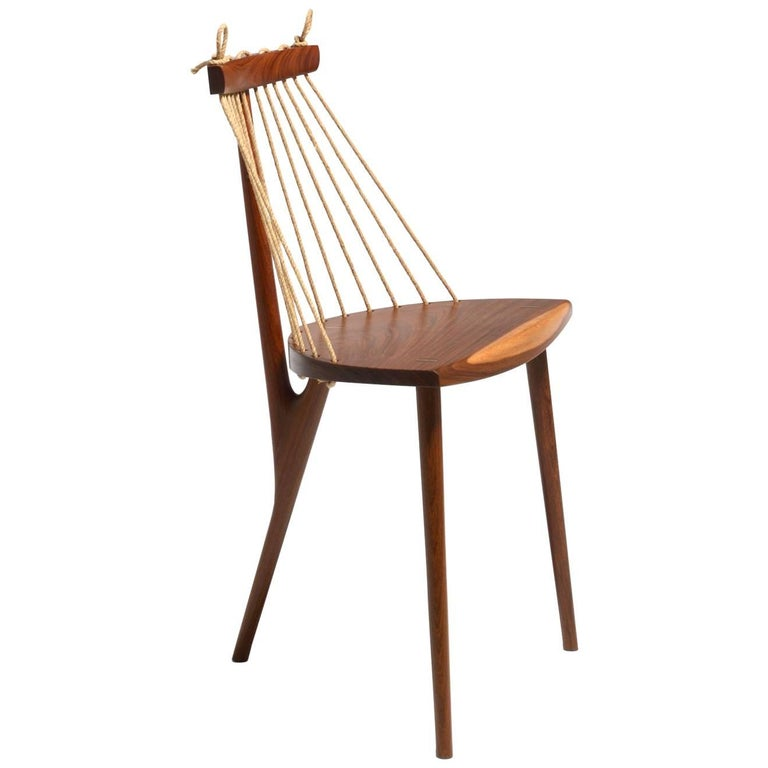Three Legged Chair on Tropical Brazilian Hardwood and Natural Ramie Cord For Sale