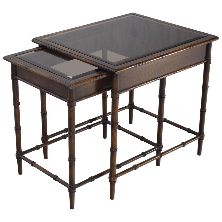 Faux Bamboo Nesting Side Tables