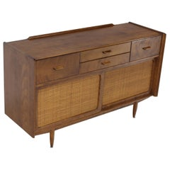 Conant Ball Sliding Doors Cane Credenza Solid Birch Mid-Century Modern