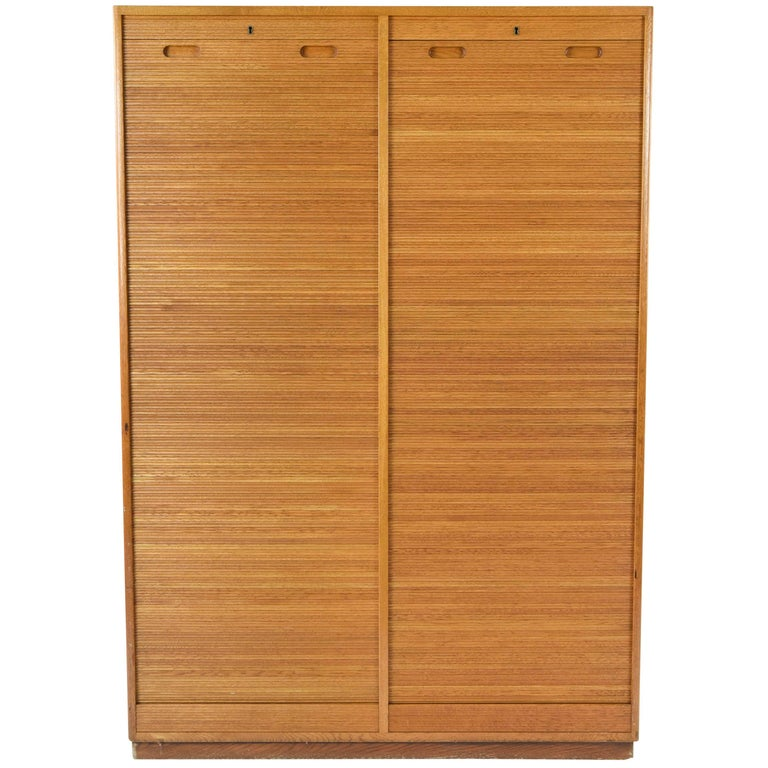 Danish Midcentury Tambour Sliding Door File Cabinet